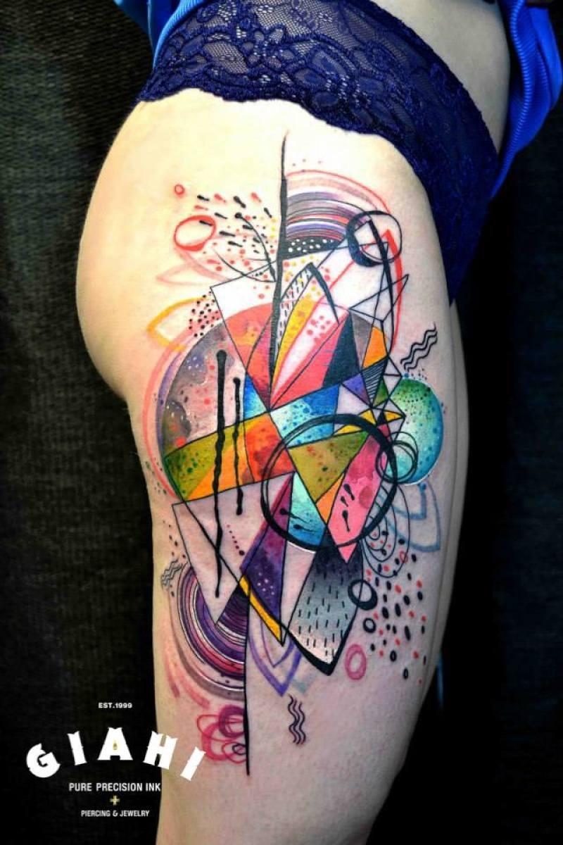 Moon Geometry tattoo by Petra Hlavàckovà