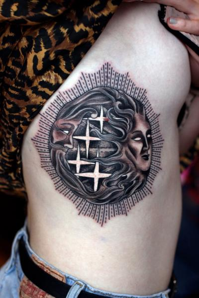 Moon and Sun Blackwork tattoo by Three Kings Tattoo