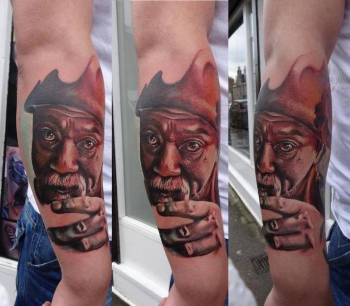 Mustache Old Man tattoo by Piranha Tattoo Supplies