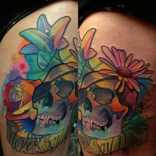 Never Say Lettering Scull Aquarelle Scull tattoo by Transcend Tattoo