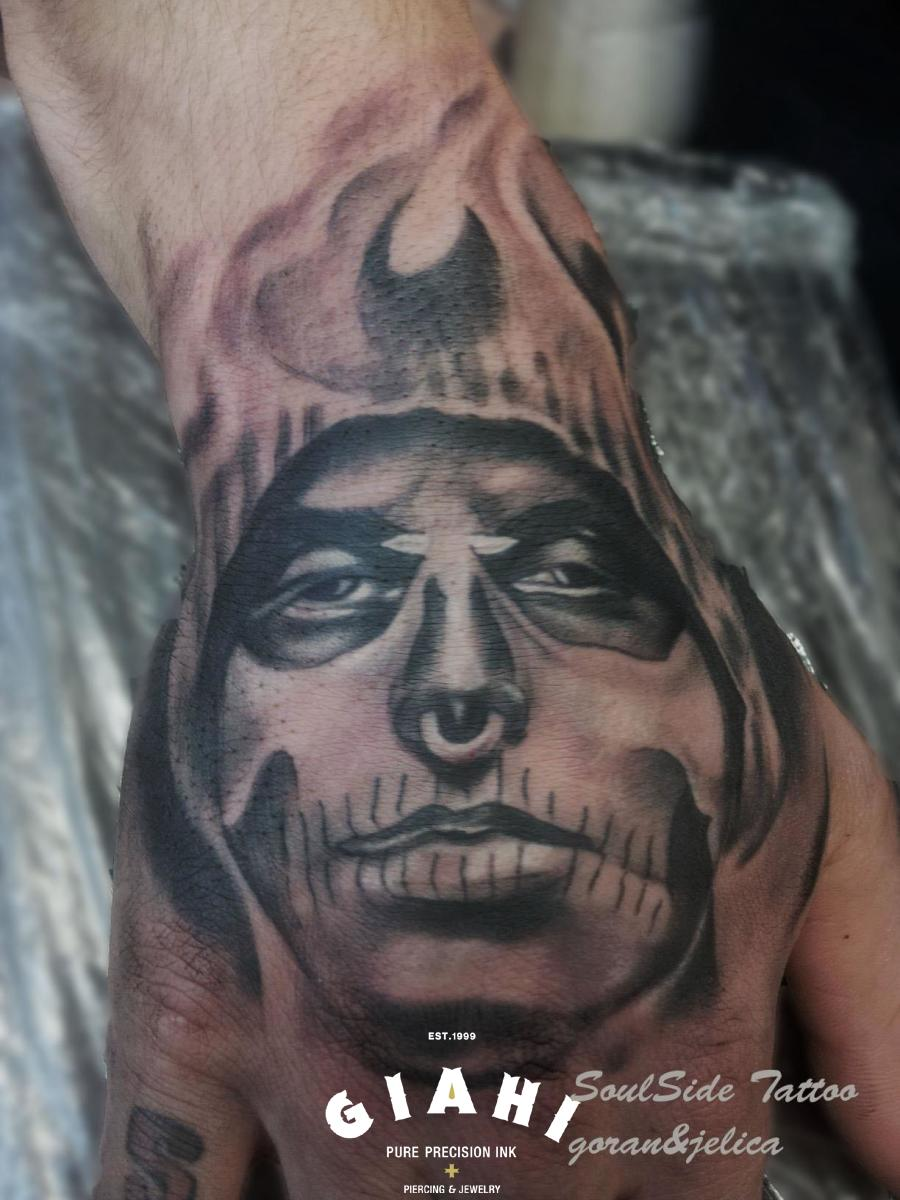Nose Ring Painted Death tattoo by Goran Petrovic