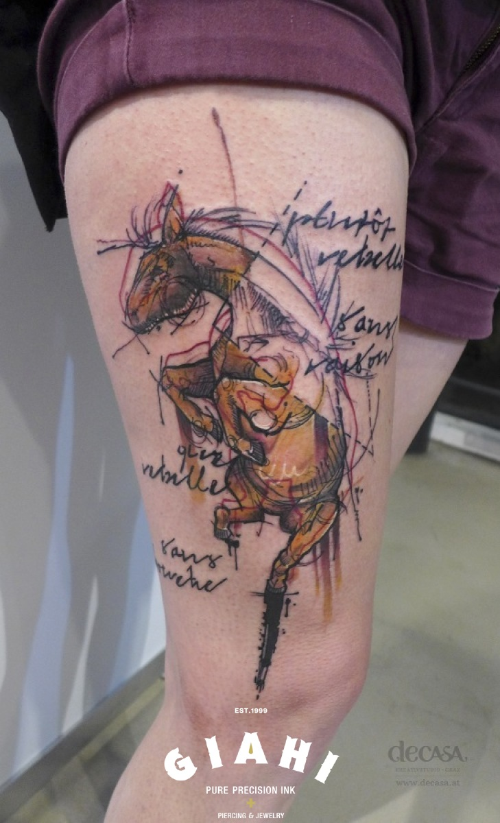 Old Book Drawing Horse Schematic tattoo by Carola Deutsch