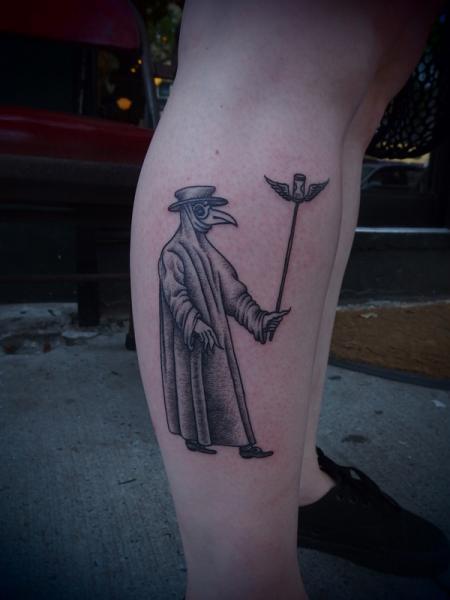 Old School Mystic Mask Dotwork tattoo by Papanatos Tattoos
