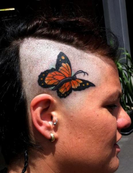 Orange Wings Butterfly Head tattoo by Three Kings Tattoo