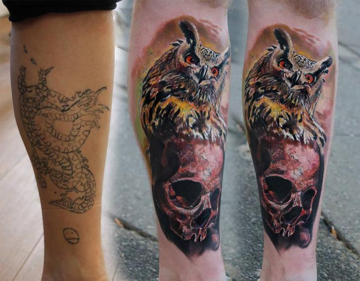 Owl and Scull Realistic Cover Up tattoo by Piranha Tattoo Supplies