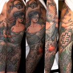 Owl and Themis tattoo sleeve by Three Kings Tattoo