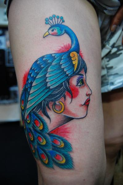 Peacock Hat Girl Old School tattoo by Illsynapse