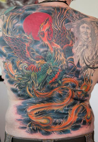 Phoenix Japanese tattoo on Back by Skin Deep Art