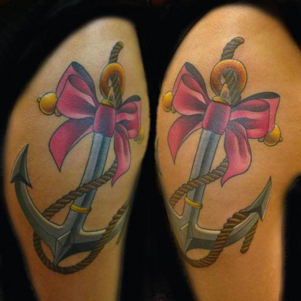 Pink Bow-Tie Anchor tattoo by Transcend Tattoo