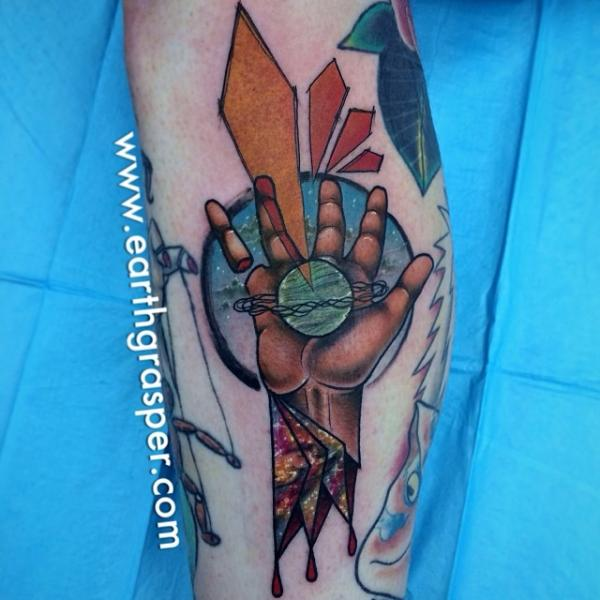 Planet in Hand Abstract tattoo by Earth Gasper Tattoo