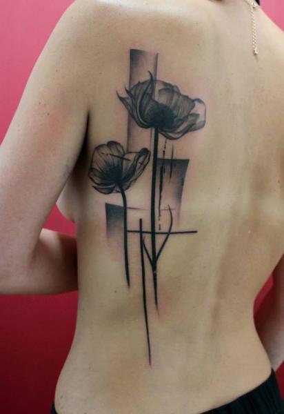 Poppies Black Trash Polka tattoo by Skin Deep Art