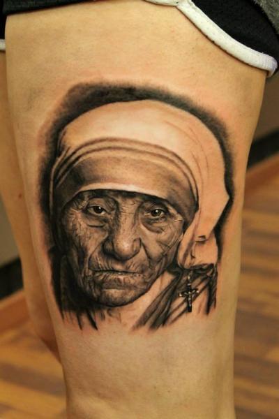 Portrait Maria Tereza tattoo by Georgi Kodzhabashev