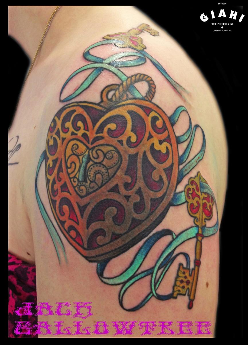 Pretty Hear Locket tattoo by Jack Gallowtree