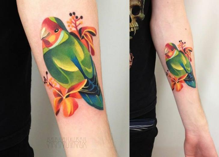Primitive Abstract Parrot tattoo by Sasha Unisex