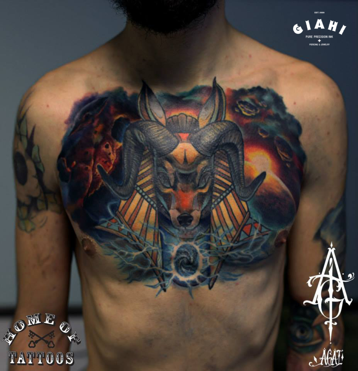 Ram Horns Anubis tattoo by Agat Artemji