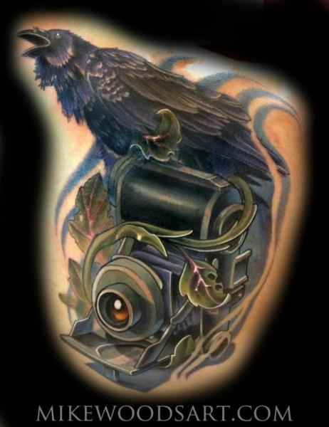 Raven Camera Realistic tattoo by Mike Woods
