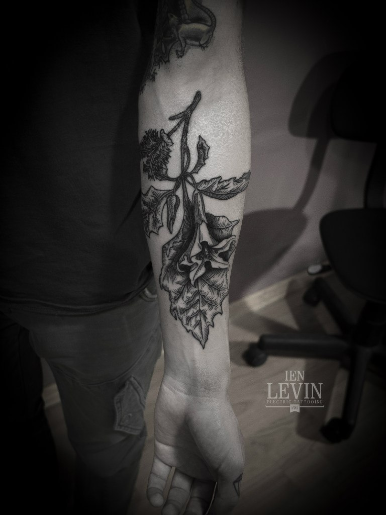 Realistic Dotwork Flower tattoo by Ien Levin