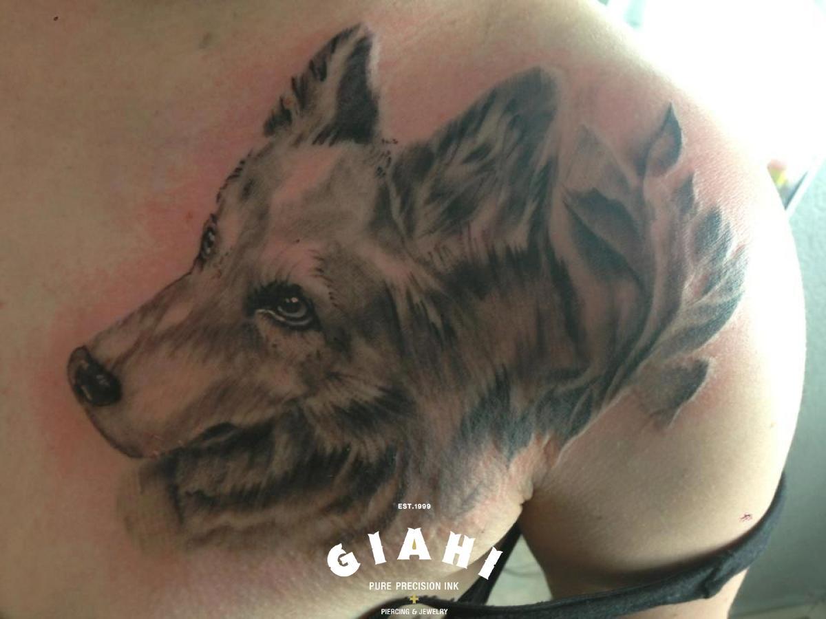Realistic Fur Dog tattoo by Goran Petrovic