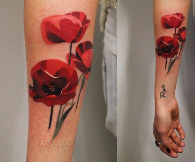 Red Poppies tattoo by Sasha Unisex