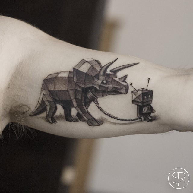 Robot and his Pet Dinosaur tattoo by Sven Rayen