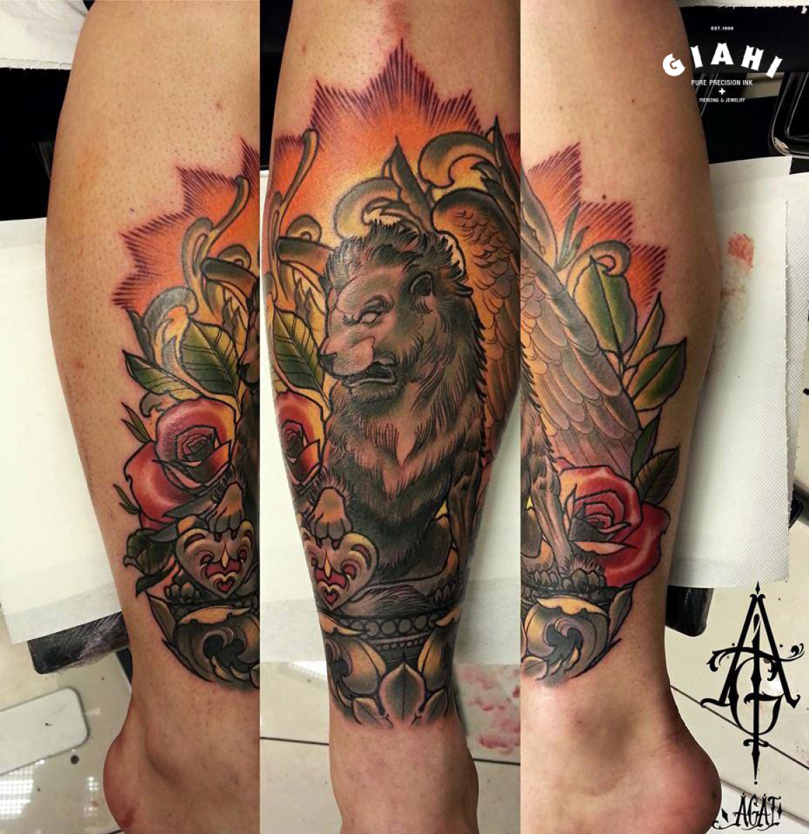 Rose Manticore Lion tattoo by Agat Artemji
