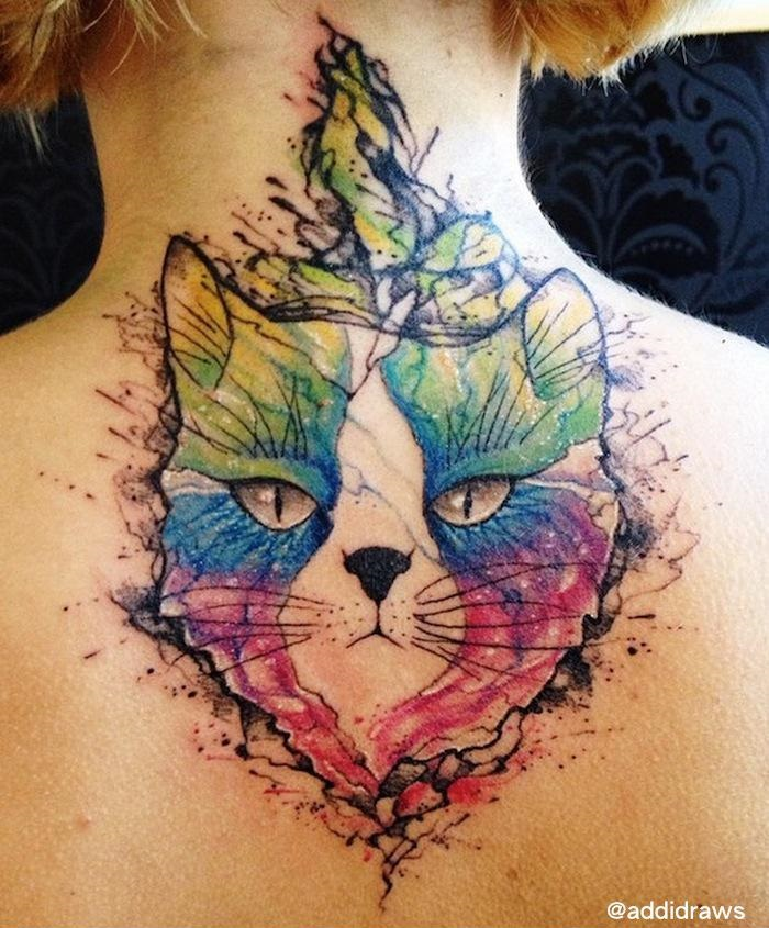 Serious Face Cat Aquarelle tattoo by Liisa Addi Kask