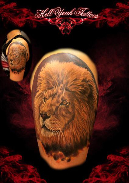 Shoulder Big Mane Realistic Lion tattoo by Hellyeah Tattoos
