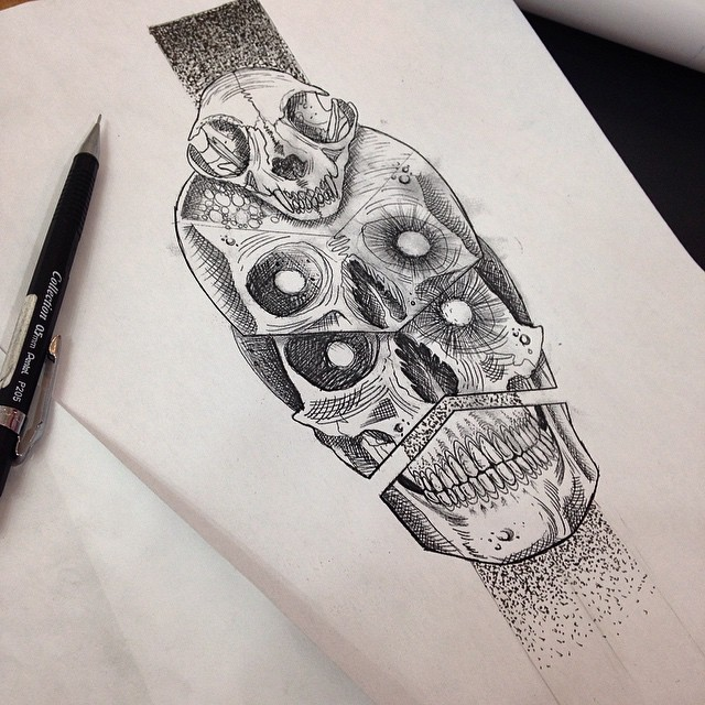 Skulls Skulls Skulls tattoo Alam Vinicius