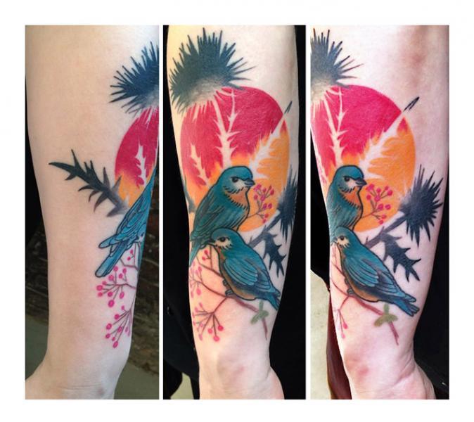 Sunset Blackthorn Birds tattoo by Julia Rehme