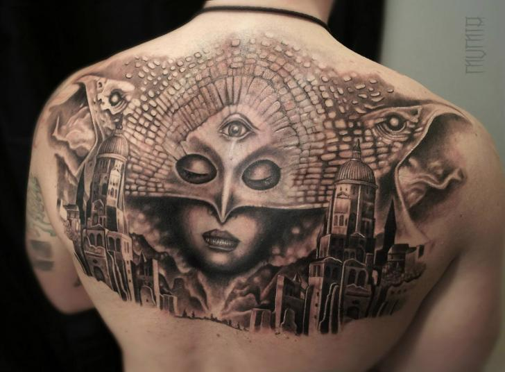 Third Eye Mask Face in Sky Graphic tattoo by Mumia Tattoo