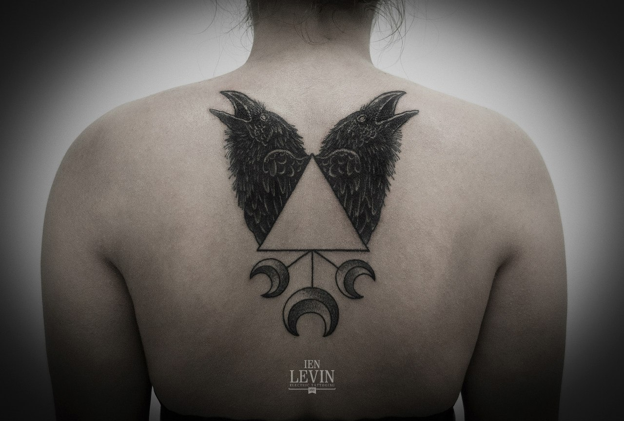 Three Moons Triangle Ravens Dotwork tattoo by Ien Levin
