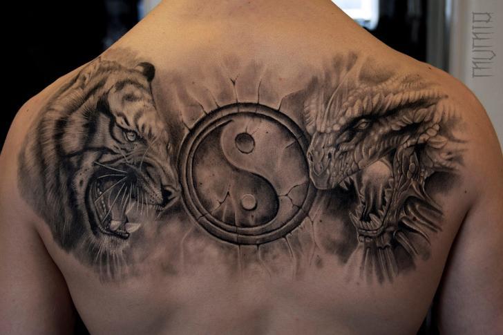 Tiger Dragon Ying Yang tattoo by Mumia Tattoo