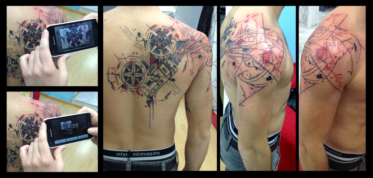 Trash Polka QR Code tattoo by Live Two