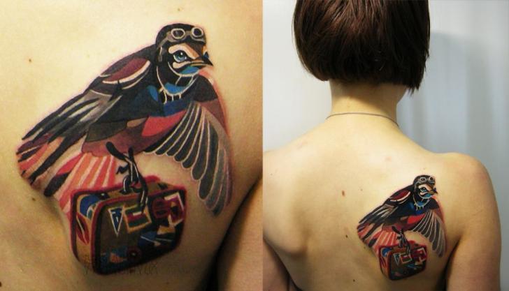 Travaler Suitcase Bird tattoo by Sasha Unisex