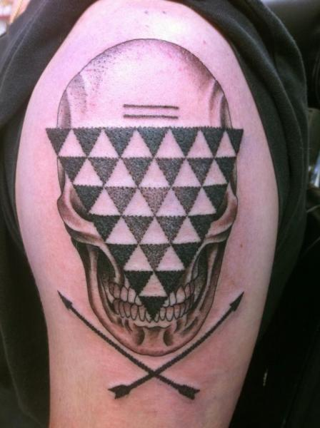 Triangle Face Scull DOtwork tattoo by Three Kings Tattoo