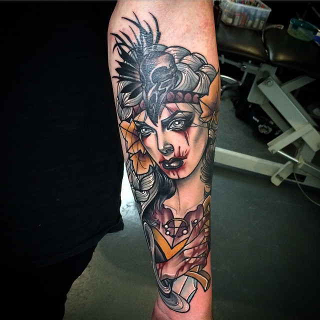 Vampire Girl tattoo by Kat Abdy Tattoo