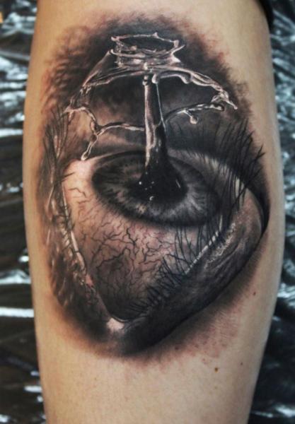 Water Splash Eye Realistic tattoo by Georgi Kodzhabashev