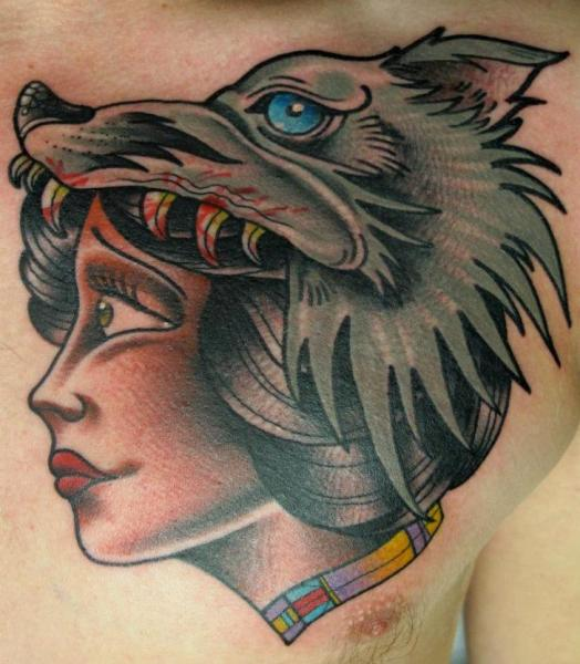 Wolf Helmet Girl tattoo by Nick Baldwin
