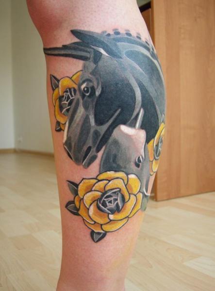 Yellow Flowers Donkey tattoo by Sasha Unisex