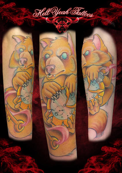Yellow Little Bear tattoo by Hellyeah Tattoos