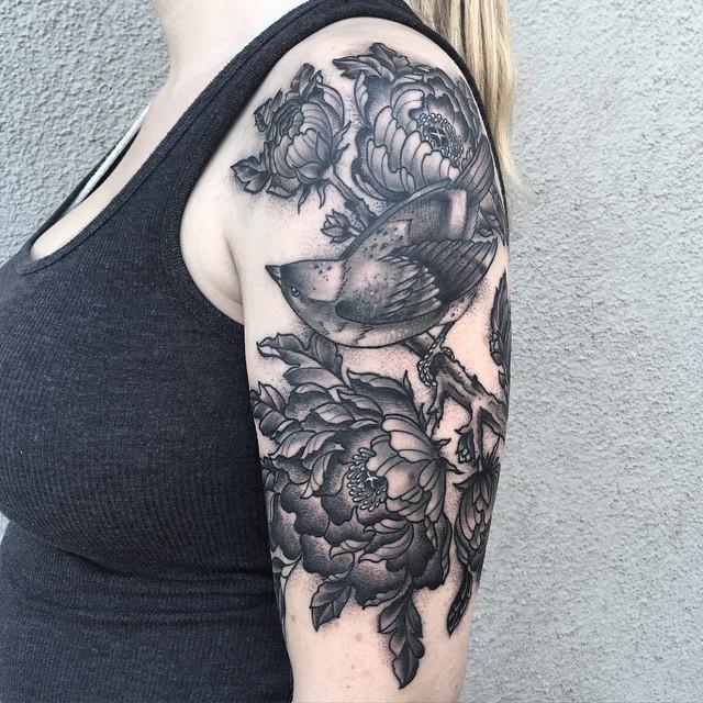 Bird in Flowers Graphic tattoo by Jodi Lyford