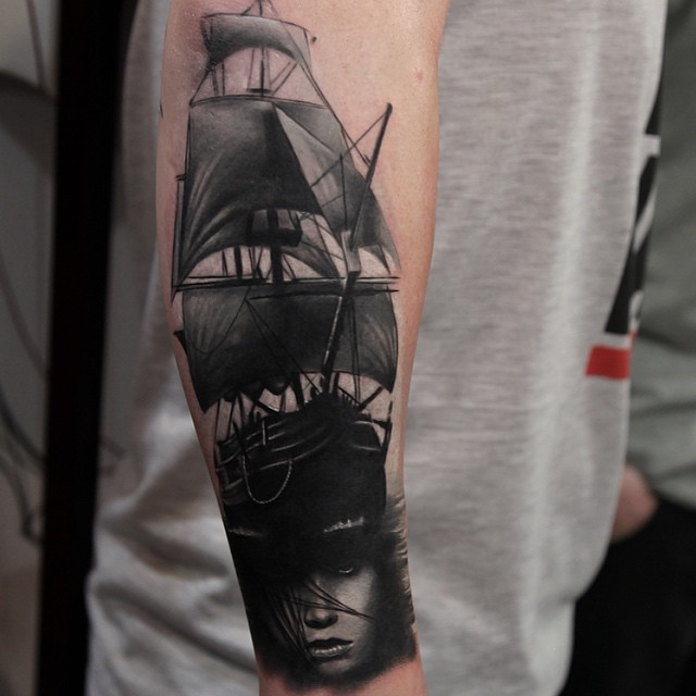Black Sail to Your Girl Ship Nautical tattoo by Rich Pineda