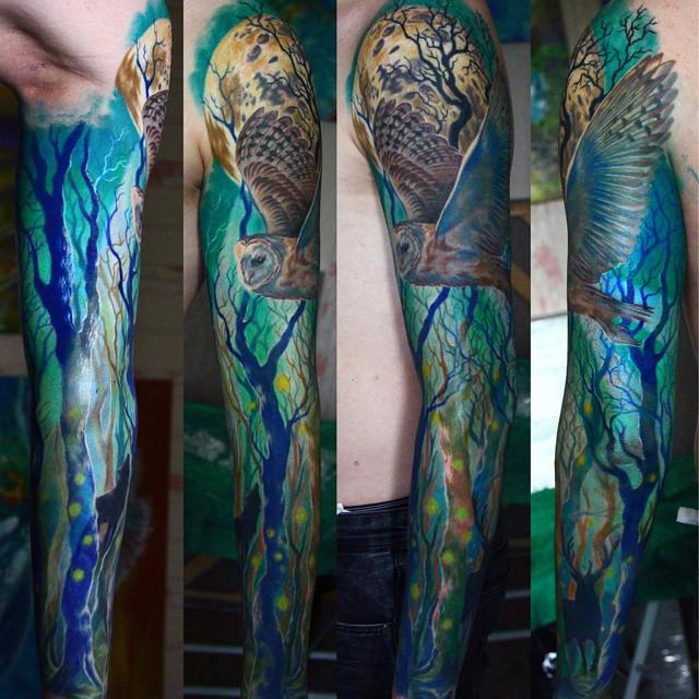 Blue Night Wood Tattoo Sleeve