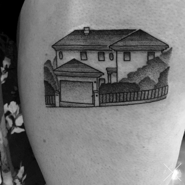 Childhood house Shoulder tattoo