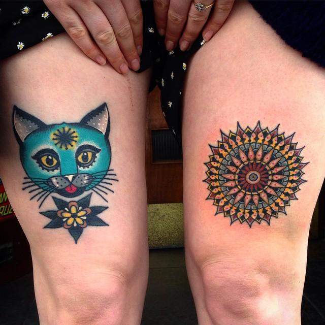 Cool Cat Thigh Tattoo