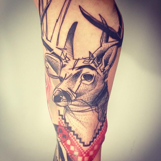 Deer Dotwork tattoo by Timur Lysenko