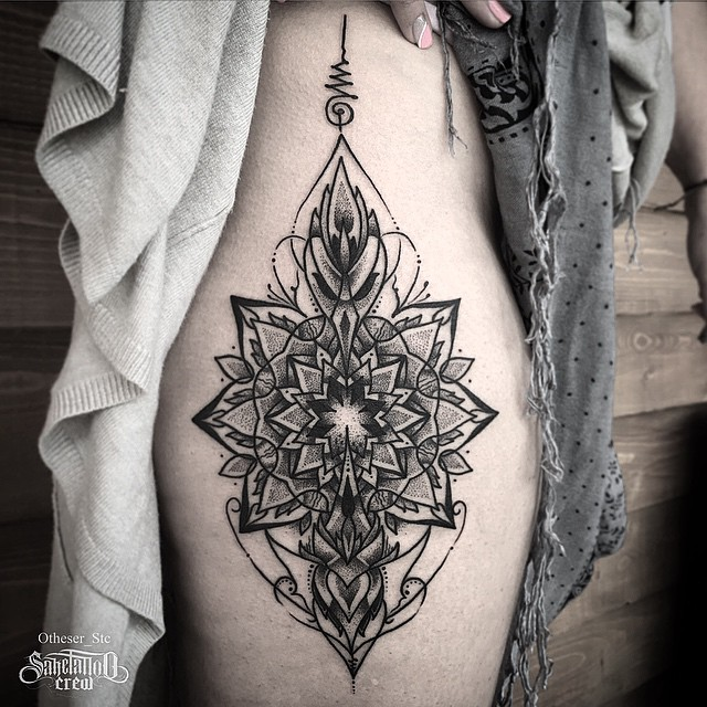 Dotwork Flower Symmetry tattoo on Hip