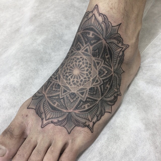 Dotwork Mandala Foot tattoo