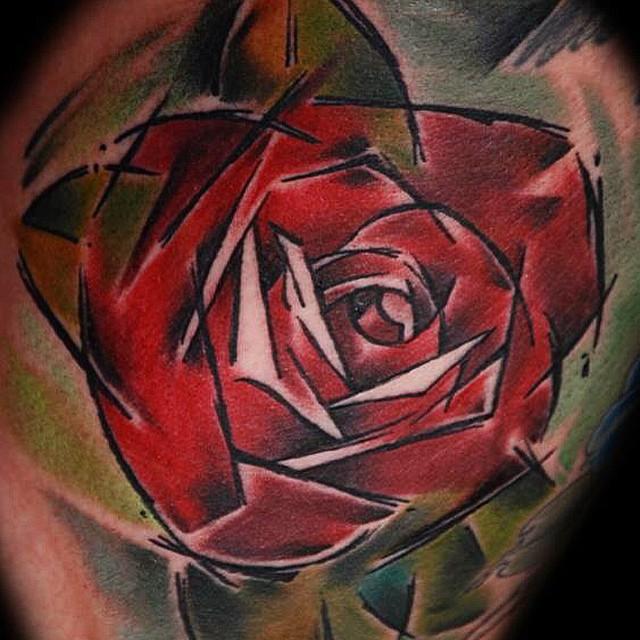 Drawn Angled Red Rose tattoo