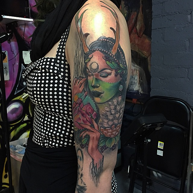 Forest Witch tattoo by Lucky Makes Tattoos